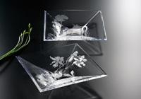 四角の大皿にマスキングペンで図案を描き、エッチング液を大皿に注いでエッチングしています。